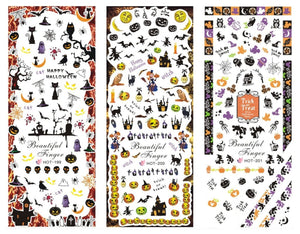 3 Sheets Nail Art Water Slide Decals Transfer Stickers (Halloween Theme)