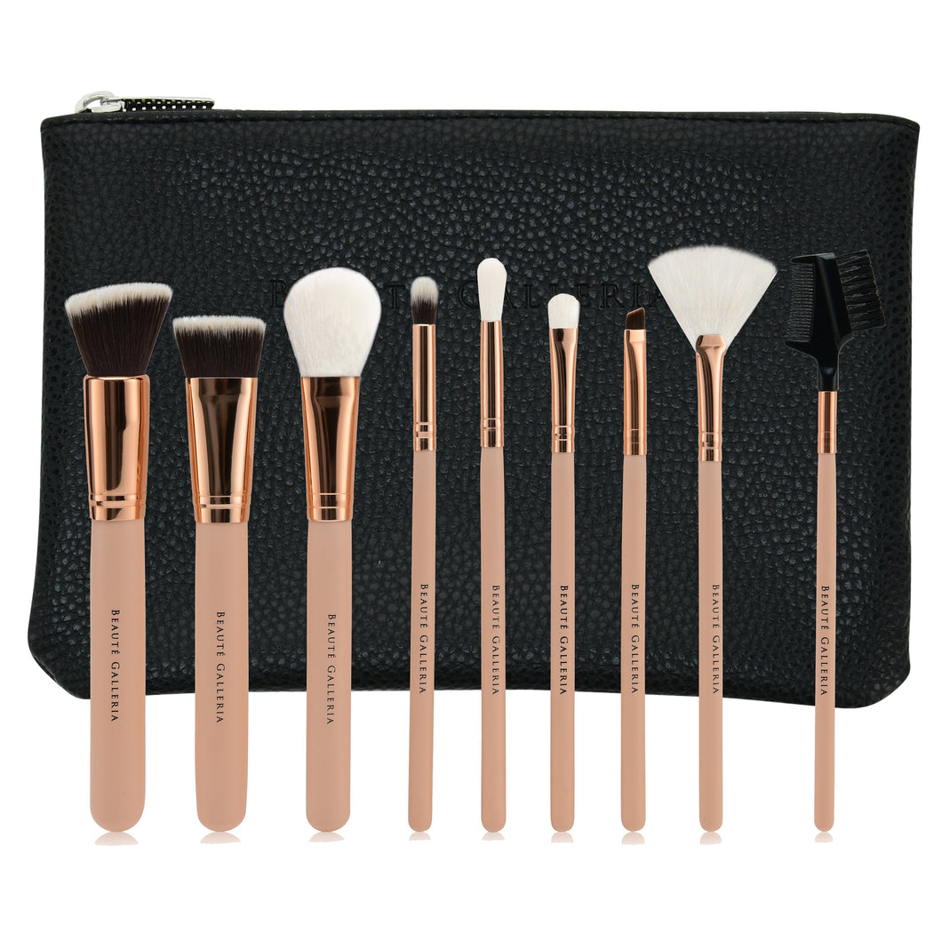 9 Pieces Makeup Brush Set, Vegan Cruelty-Free Synthetic Bristles