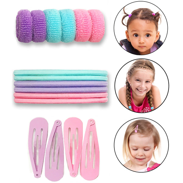 Bundle 16 Pieces Toddlers Kids Hair Accessories with Pouch - 6 Tiny Terry Ponytail Hair Bobble Holder, 6 Non Slip Elastic Hair Ties Bands, 4 Snap Hair Clips Barrettes