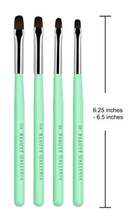 4 Pieces UV Gel PolyGel Nail Brush Set (Size 6, 8, 10, 14)
