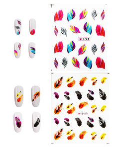 5 Sheets Nail Art Water Slide Decals Transfer Stickers