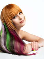 Bundle 11pcs Rainbow Multi-Color 21 Inches Straight Party Highlights Clip In Synthetic Hair Extensions Cosplay Comic Con Halloween Costume