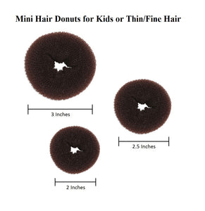 3 Pieces Mini Kids Hair Donut Bun Maker (Brown)