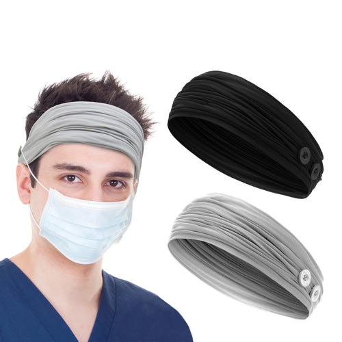 2 Pieces Button Headbands Mask Holders for Ear Pain Relief and Protection