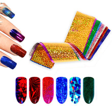 Load image into Gallery viewer, 50 Pieces Sparkly Laser Holographic Galaxy Nail Art Transfer Foils