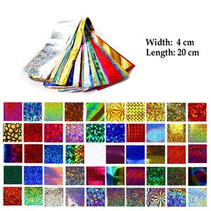 50 Pieces Sparkly Laser Holographic Galaxy Nail Art Transfer Foils