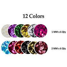 Load image into Gallery viewer, 12 Colors Nail Art Hexagon Glitters