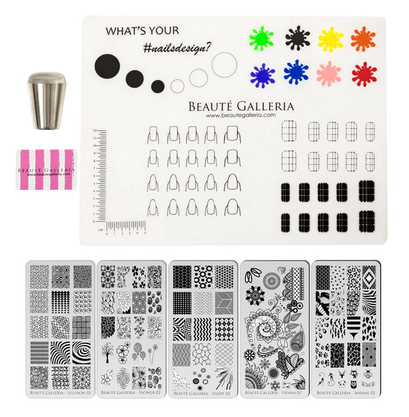 Bundle Nail Art Stamping Set - 5 Styles of Premium Etched Stamping Plates Image Templates, Silicone Nail Mat, Nail Stamper, Plate Scraper and Instruction Card