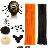 Beaute Galleria Creativity DIY Kids Hair Crafts Accessory Decor, Chenille Stem Pipe Cleaner Bun Maker for Halloween Costume Spider Reindeer Christmas, Classroom Arts and Crafts