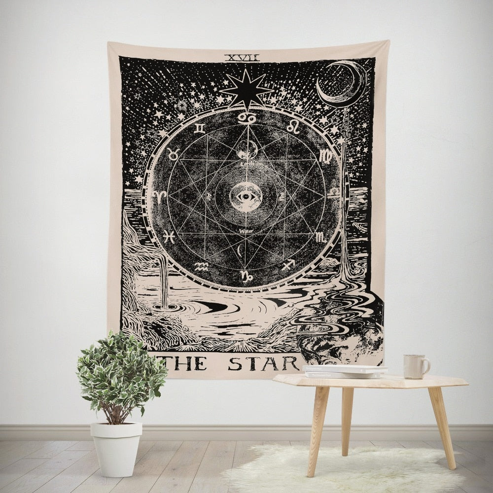 vintage european tapestry witchcraft astrology - tapestryleps