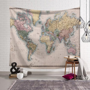 Nordic Vintage Tapestry World Map mix colors - tapestryleps