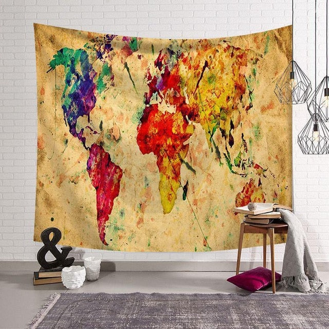 Nordic Vintage Tapestry World Map colorful - tapestryleps