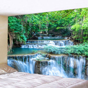 HoMe 3d Tapestry Green Forest Waterfall - tapestryleps
