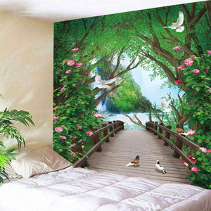 HoMe 3d Tapestry Forest Flowers Wooden Bridge - tapestryleps
