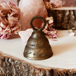 Vintage Brass Bell with Hand Etched Design