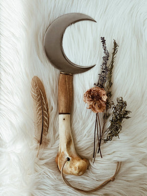 Large Boline Sickle Knife with Deer Bone Handle | Magickal Tool