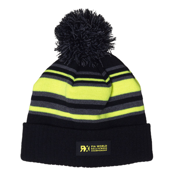 World RX Striped Pom Beanie