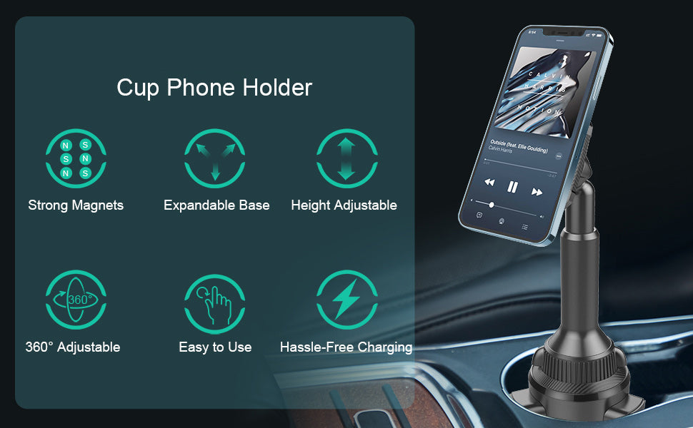 magnetic cup holder car phone mount