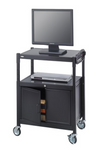 Steel Adjustable AV Cart With Cabinet # 8943BL