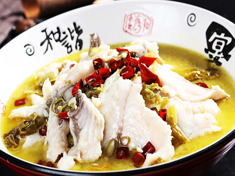 (中辣)酸菜鱼片 Fish Fillet with pickled cabbage and pepper