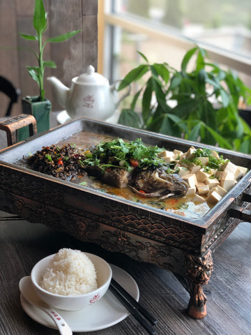 Edmonds Only - 红薯叶酸菜煮活鱼 Stew Whole Fish w. Pickled Yam Stem