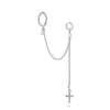 Dottilove - Earchain - hoop and strass cross silver