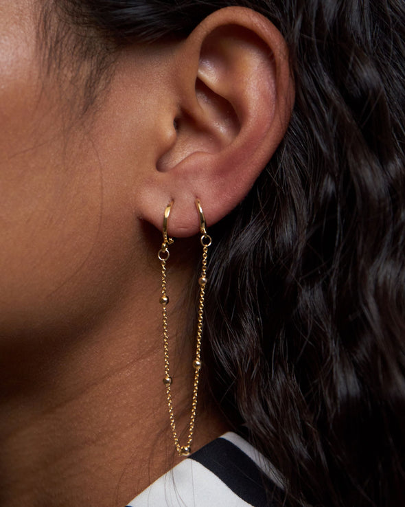 Dottilove - Earchain - two hoops and dotted chain silver