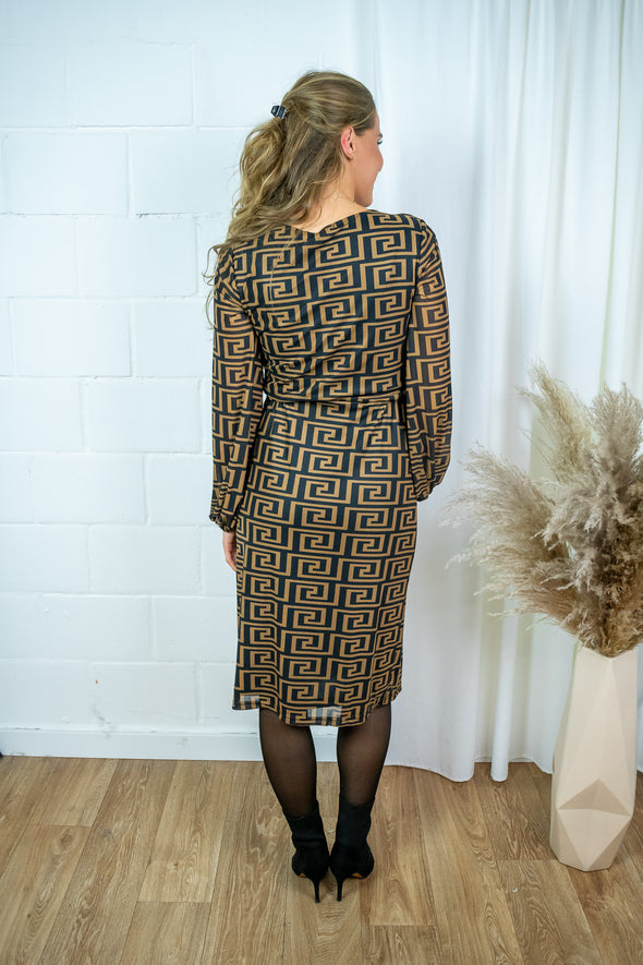 Mindy wrap dress - Rusty brown print