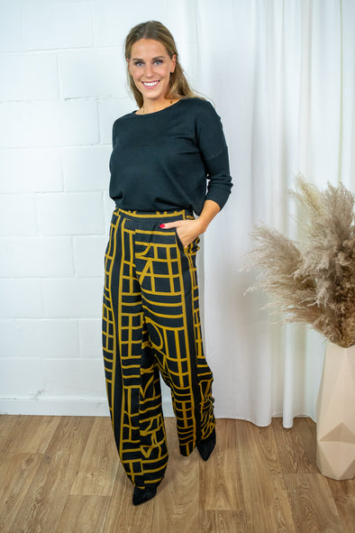 Maya pant - Black yellow print