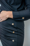 Dress Button Detail - Black