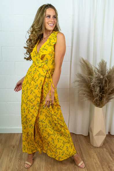 Serina Maxi Dress - yellow Flower