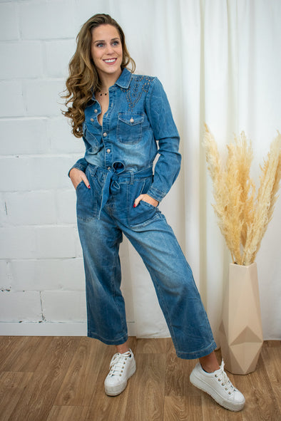YillaCR denim jumpsuit - Blue denim