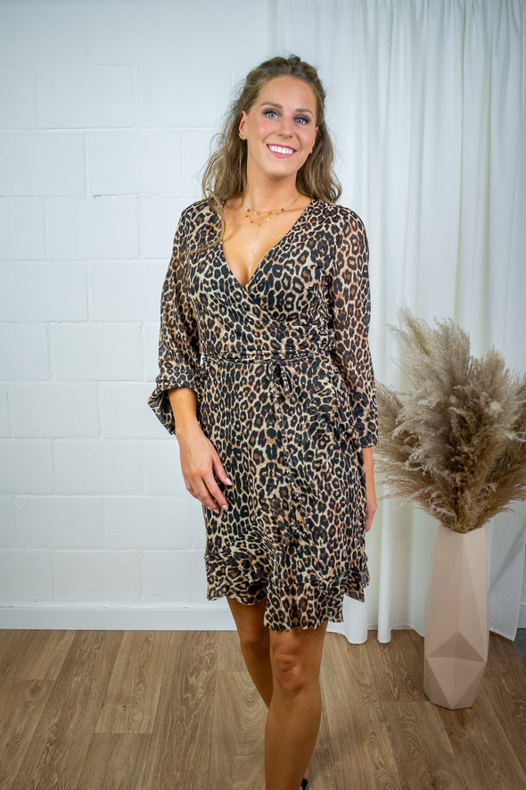 Mila mesh wrap dress - Leo print