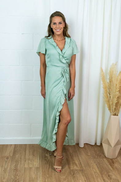 Takita Ankle Dress - Mint green satin