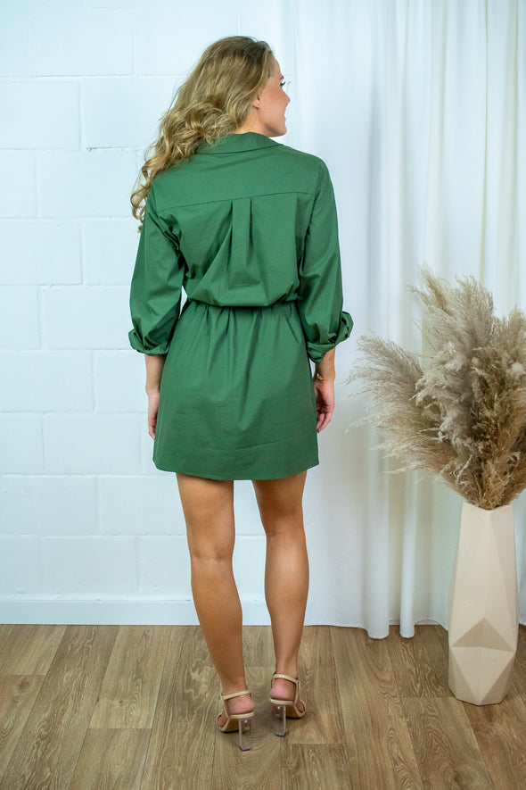 Lucy Shirt Dress - Army Green