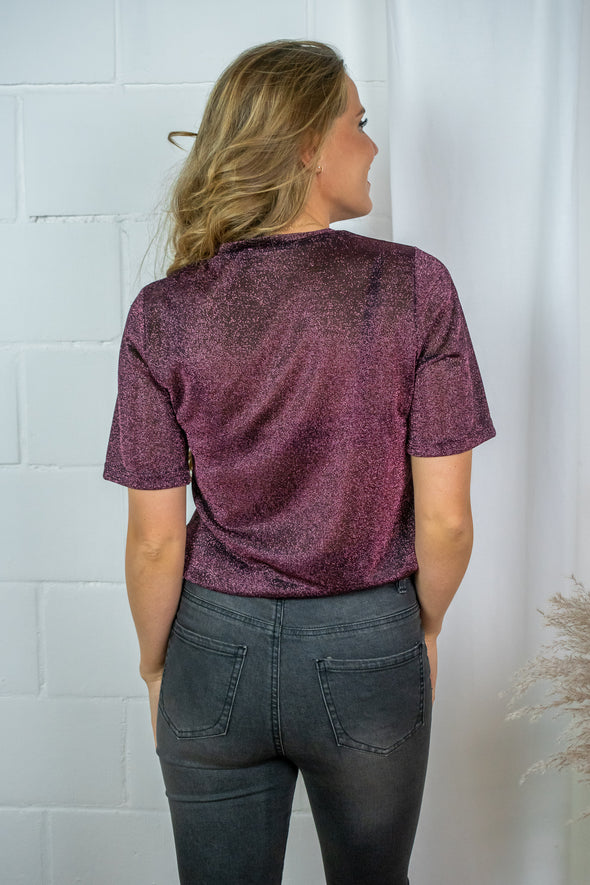 Courtney top - Wine red lurex