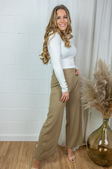Louisville catia wide pants - Dark beige