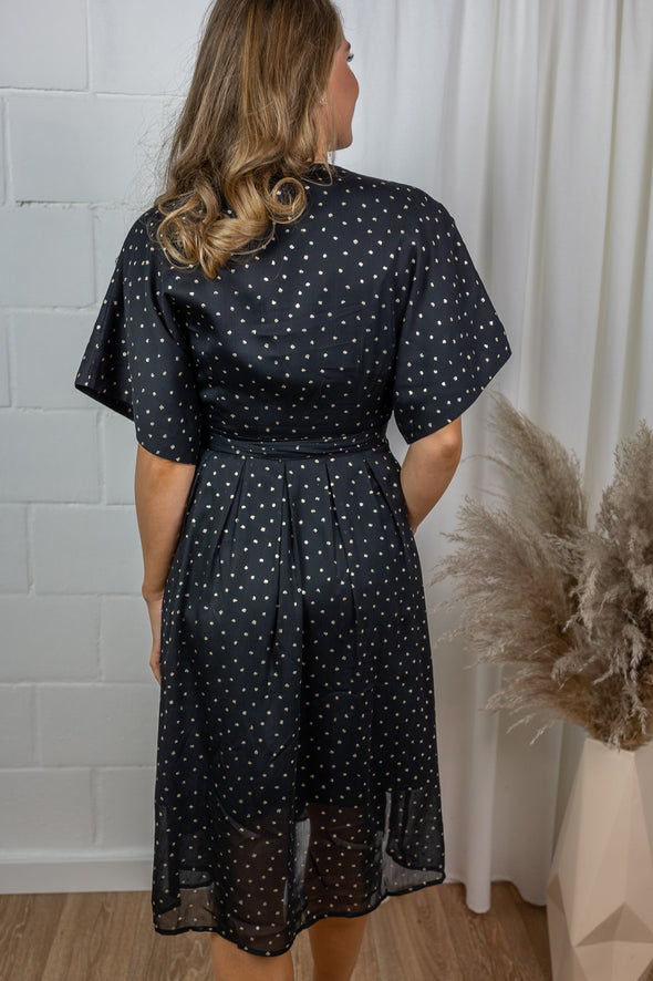 Vanessa dress - Gold dot black chiffon