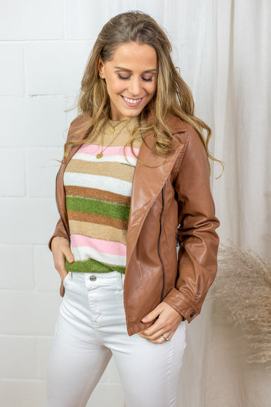 Ille Faux Leather Jacket - Rawhide