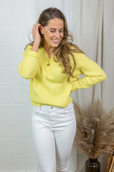 Sandy V-neck pullover - Yellow