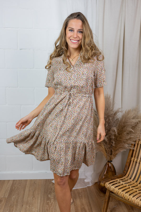 Julia dress - Small brown flowers