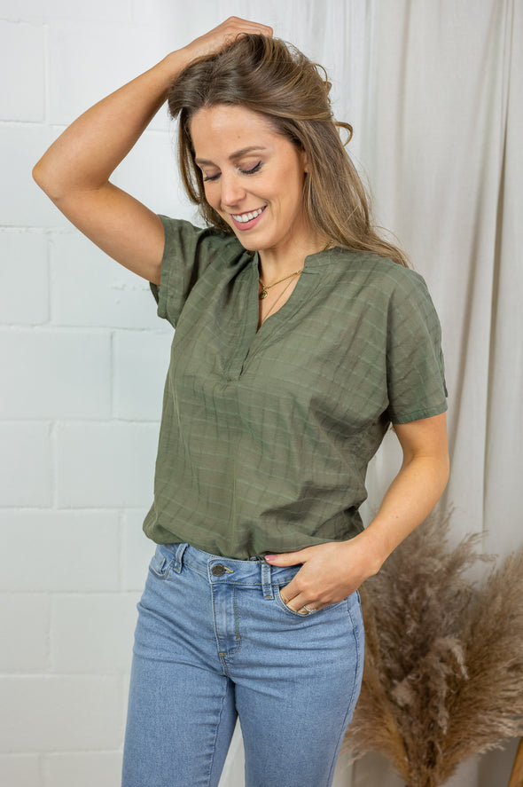 Fie wing sleeve blouse - Grape leaf khaki