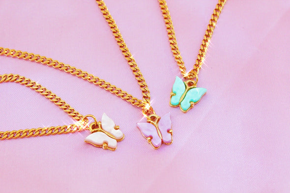 Dottilove - Necklace - Acryl Butterfly Pink