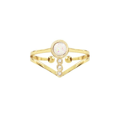 Ring double dots and pink stone - Goud
