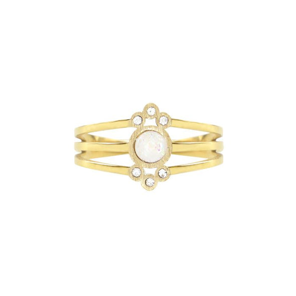 Ring triple dots and stone pink - Goud