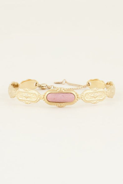 Bangle roze steen - Goud