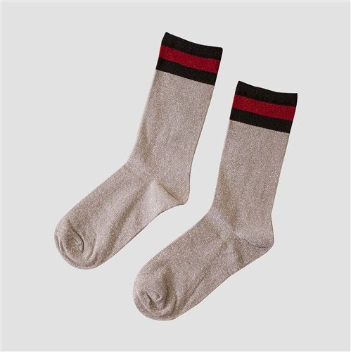 Socks glitter - Silver black red