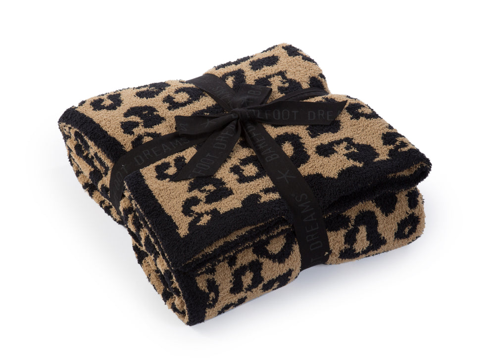 Barefoot Dreams: cozychic in the wild adult throw - camel/black