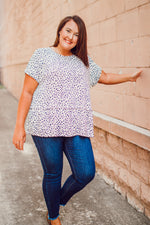 Sketch Animal Print Ruffle Hem Top - Plus Size