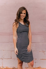 Tiff Stripe Dress -Black